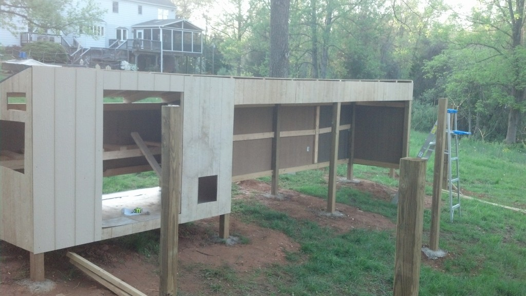 The coop being built